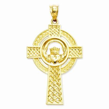 14k Gold Celtic Claddagh Cross Pendant
