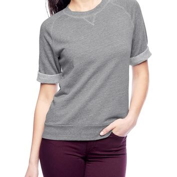 True Religion Joan Smalls French Terry Raglan Sweatshirt - Heather Grey