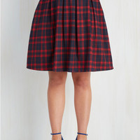 90s, Scholastic Mid-length Full Sweet and Tartan Skirt in Crimson