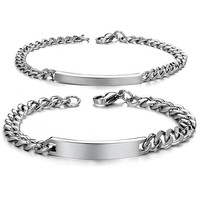 Smooth surface fashion trend Titanium steel couple Bracelet hand chain-Gender Men