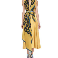 Silk Chevron Paneled Dress, Bright Larch Yellow