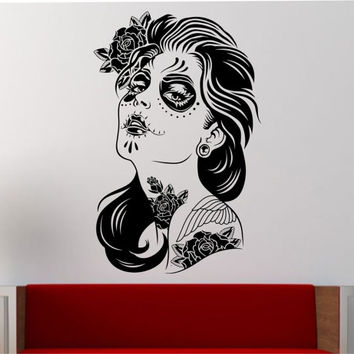 Day of the Dead girl Wall Decal Vinyl Sticker Art Decor Bedroom Design Mural interior design sugar skull living room tattoo