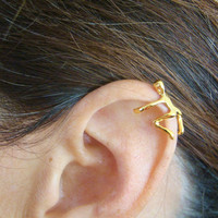 Climbing Man Gold Ear Cuff, Unique Jewelry, Stocking Stuffer