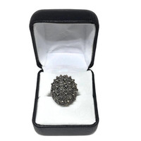 Sterling Silver and Marcasite Art Deco Style Cocktail Ring Size 7