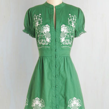 Needlework it Out A-Line Dress in Green | Mod Retro Vintage Dresses | ModCloth.com