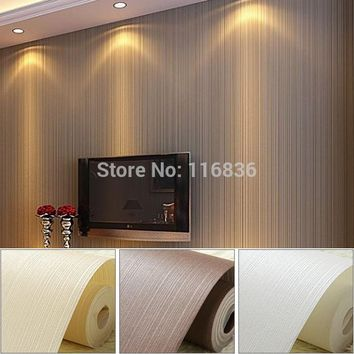 Top Quality  Fabric Mural wallpaper modern striped flock wall paper papel de parede tapete bedroom  white,beige,coffee 53x1000cm