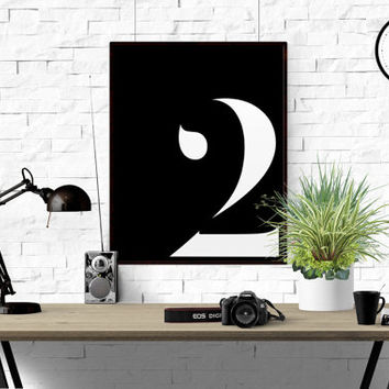 Number 2 Printable Poster Print Number Scandinavian Poster Typography Print Number 6 Wall Art  Custom number ANY NUMBER Black And White