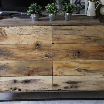 The Crossroads Dresser- An industrial rustic dresser made from barn-wood, industrial metal, and spalted hardwoods