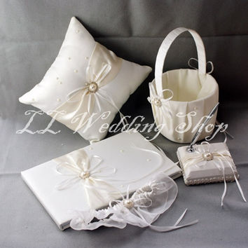 Free shipping,Set of 5pc Ivory with Faux pearl Satin Wedding Guest Book Ring Pillow Flower Basket Pen Holder Garter Sets WS67