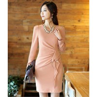 Long-sleeved Thin Flounced Dress Pink - Designer Shoes|Bqueenshoes.com