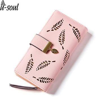 women purse female wallet hollow out leaf bifold wallet leather clutch women card holder purses ladies purse female A1491