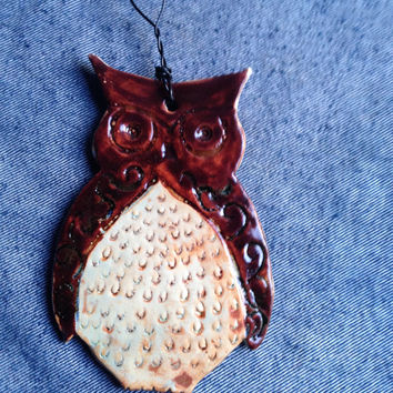 Brown Owl - Hanging Wall Decor - Ceramic Art