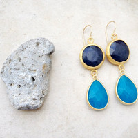 spring jewelry fashion long  DUAL  sky sea blue drop & navy denim blue jade gemstone earrings textured matte gold Israel jewelry