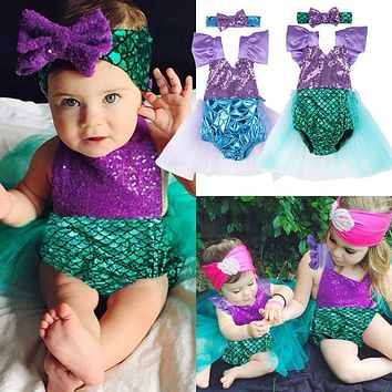 2017 Sequins Mermaid Newborn Baby Girl Summer Tutu Skirted Romper Bodysuit Jumpsuit +Headband 2PCS Outfits Kids Clothing Set