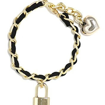 Heart and Padlock Charm Bracelet Gold Tone Woven Black Leather Cuff Bangle BF04 Fashion Jewelry