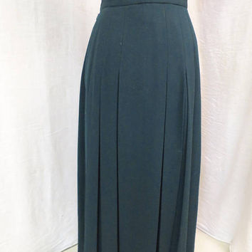 Vintage Pleated Wool Skirt Dark Green Box Pleats Charter Club Pure Wool Hip Pleats USA Made 1980's Long Preppy Skirt  Sz 4 Unlined