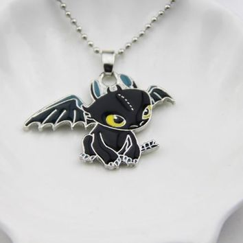 Fashion Jewelry Silver Charm How To Train Your Dragon 2  Necklace Toothless Night Fury Pendant Necklace,original factory supply