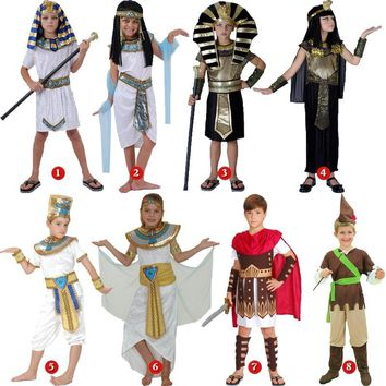 Cool halloween costume for kids Pharaoh queen egyptian cleopatra costume girls boys for children ancient egypt fancy dress CosplayAT_93_12