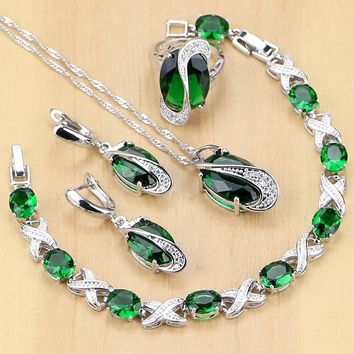 925 Sterling Silver Jewelry Green Zircon White CZ Jewelry Sets Women Earrings/Pendant/Necklace/Rings/Bracelet T225