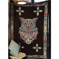 Indian Mandala Tapestry Owl Animal Wall Hanging Carpet Blanket Bohemian Decoration Beach Towel Yoga Mat Bedspread Table Cloth