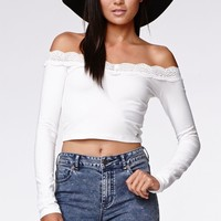 Kendall & Kylie Off Shoulder Top - Womens Tee - White