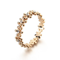 Real Italina Rigant Austrian Crystals 18K Rose gold Plated Fashion Flower Rings for Women Heathy Anti Allergies  # RG95118