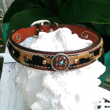 Leopard Dog Collar, Leather Collar, Hair On Hide, Concho DoG CoLLar, Pet Collar, 20 Inch CoLlar, Swarovski Crystal