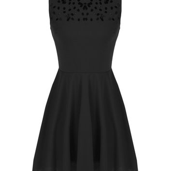 Sleeveless Sequined Sheath A-Line Mini Skater Dress