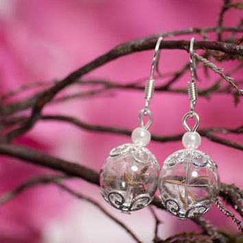 Wedding jewelry set, Bridesmaid set, with real dandelion seeds, pearls and hand blown glass, blown glass Jewelry Set