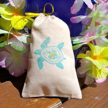Hawaiian Sea Turtle Hand Stamped Cotton Muslin 4x6 Favor Bag - great for Luaus, Beach and Tropical Parties and Weddings