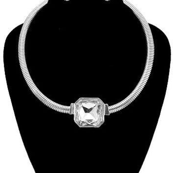 "12"" silver crystal layered choker bib collar necklace earrings ribbed"