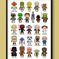 Star Wars A-Z print, kids wall art, Star Wars, Darth Vader, Jedi, Stormtrooper, Luke Skywalker, Han Solo, A-Z print, Star Wars nursery