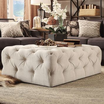 HomeVance Vanderbilt Tufted Cocktail Ottoman (Brown)