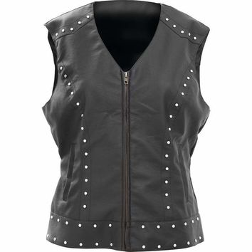 Tailored Ladies' Faux Leather Studded Vest