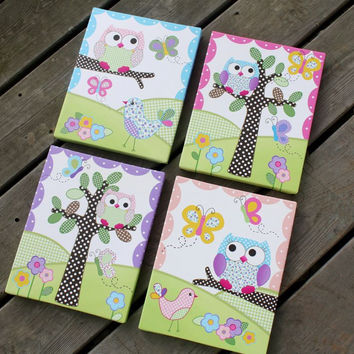 Set of 4 Pink and Purple Owls and Birdies Girls Bedroom Baby Nursery Art on Stretched CANVAS 4CS025