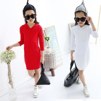 2016 Brand New Spring Autumn Girls Cute Long Sleeve O-Neck With Hat Princess Girls Lovely School Fashion Dress Hot Sale Retail