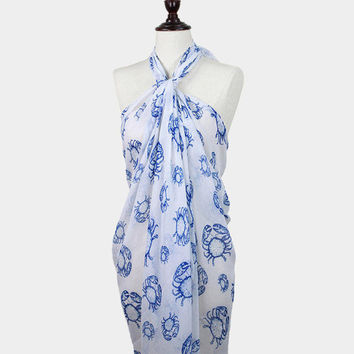Blue & White Crab Print Pareo / scarf / sarong / wrap / cover up / multi-way scarf / sea life / nautical scarf