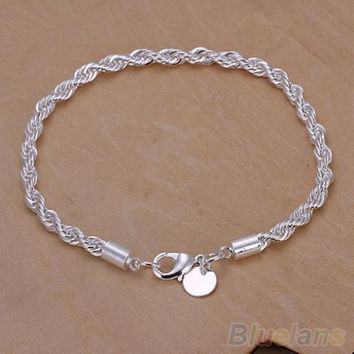 Elegant Silver Plated Twisted Rope Design Bracelet Bangle Chain  2IQW