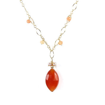 Saffron Toffee Carnelian, Moonstone and Freshwater Pearls Necklace
