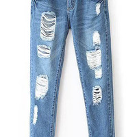 Blue Pockets Ripped Denim Pants