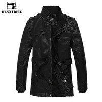 Luxury Waistband Leather Long Jackets Men Faux Fur Jacket Thick Warm Sheepskin Coat For Men Biker Leather Jacket