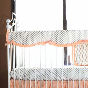 Crib Rail Cover | Metallic Gold Dot with Coral/Mint Ruffles