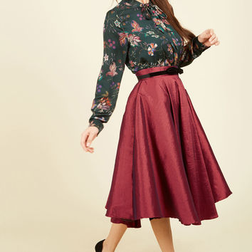 Mellifluous Maven Midi Skirt in Ruby | Mod Retro Vintage Skirts | ModCloth.com