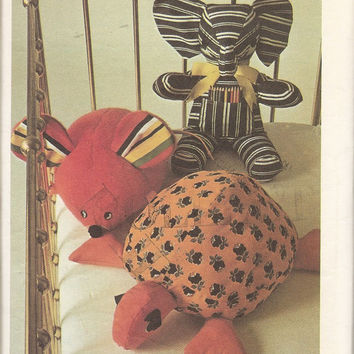 14-0905 Butterick Costumes Pattern 3419 / Butterick 3419 / Stuffed Animal Toy Patterns / Elephant / Mouse / Turtle / Children's Toy Pattern