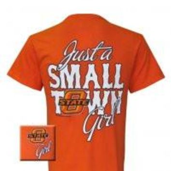 Oklahoma State Cowboys Small Town Girl Logo Girlie Bright T Shirt