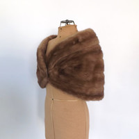FALL SALE Vintage 1950s 1960s Mink Cape Shawl Brown Fur Stole Couture Fur Wrap Mad Men Fall Cloak Flapper Pin Up Wedding  Dress Cover Up