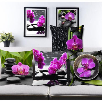 Pastoral Pure Purple Flower Black Stone Custom Sofa Throw Pillow For Living Room Chair Bed Cushions Home Decorative Pillows