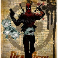 Deadpool poster - Deadpool wall art - Vintage dictionary print - superhero