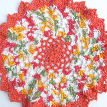 "Doilies, Festive Doily, Table Runner, Colorful Doilies, Crocheted Cotton Table Mat, Crochet doilies, Large Doily, 16"" Table Mat, Made in USA"