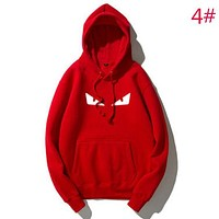 Fendi Fashion New Autumn And Winter Bust Eye Print Couple Keep Warm Hooded Long Sleeve Sweater Top Red
